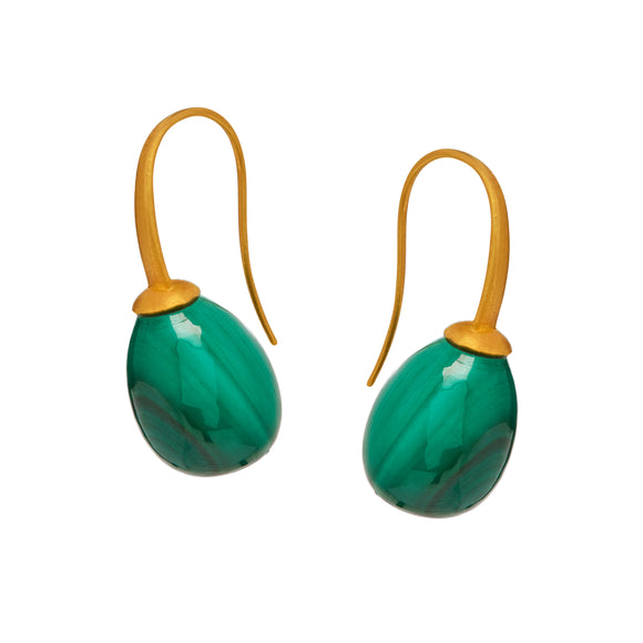 Plum in Malachite Earrings