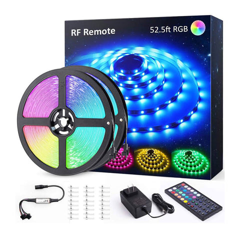52.5ft RGB LED Strip Lights, 16M Color Changing TikTok Light Strip with 44 Keys RF Remote