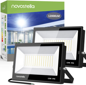 Novostella 2 pack 120W LED Flood Lights, 5000K Daylight White 12000LM IP66 Waterproof Outdoor Security Light, Super Bright Hardwired Basketball Court Light