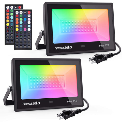 Novostella 2 Pack 60W RGB LED Flood Lights, IP66 Waterproof Color Changing Outdoor Landscape Light, Garden, Patio Light