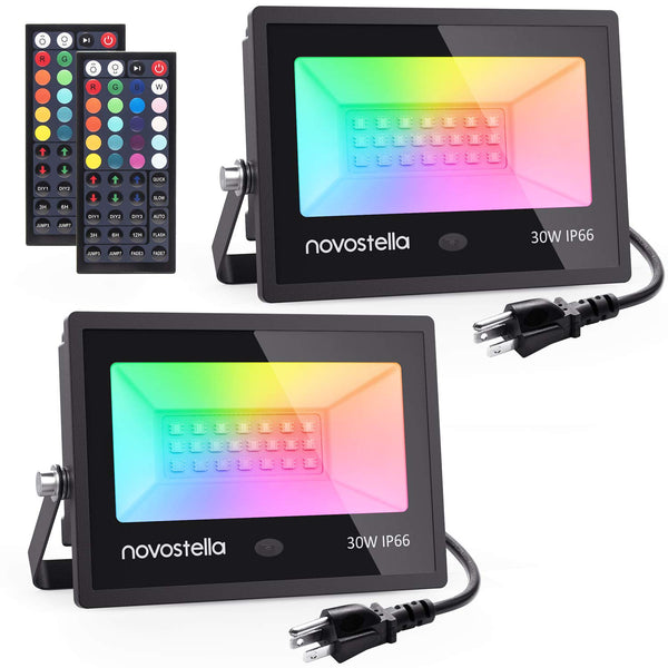 Novostella 2 Pack 30W RGB LED Flood Lights, IP66 Waterproof Color Changing Stage Light, Wedding Party Light