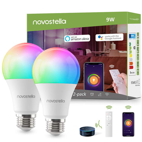 Novostella 2 Pack 9W Wi-Fi RF Control RGBCW Smart Light Bulbs