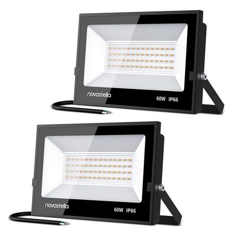 2 Pack 60W LED Flood Lights, 3000K Warm White 6000LM IP66 Waterproof Hardwired Backyard Light
