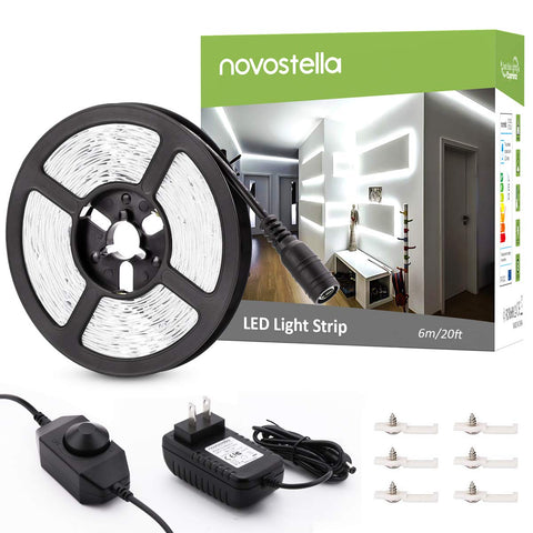 Novostella 20ft 6M Dimmable 6000K Daylight White LED Strip Lights