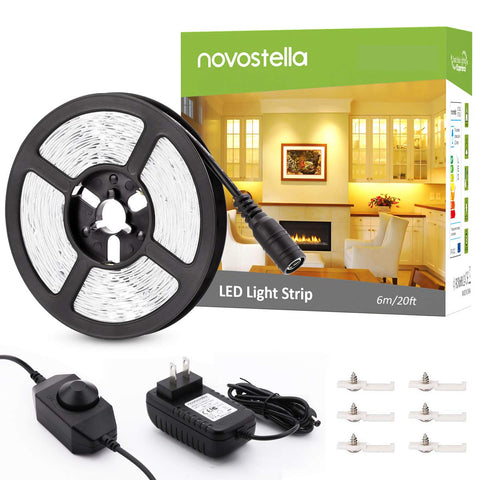 Novostella 20ft 6M Dimmable 3000K Warm White LED Strip Lights
