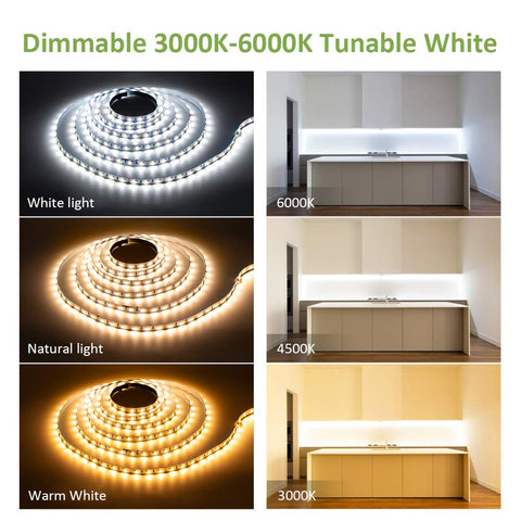 40ft 12M 3000-6000K Tunable White LED Strip Lights, Warm White Stage Light / Showcase Lights
