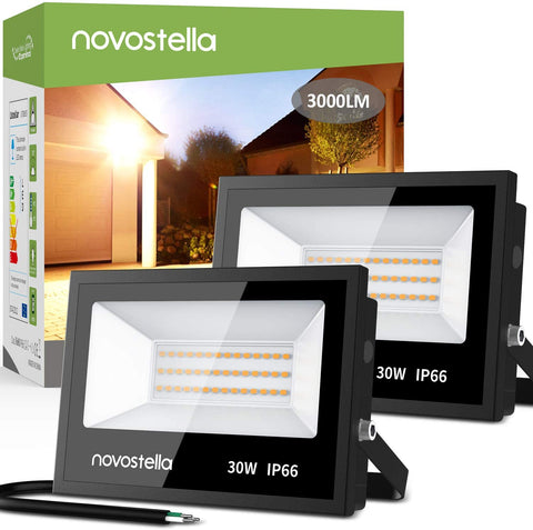 2 pack 30W LED Flood Lights, 3000K Warm White 3000LM IP66 Waterproof Hardwired Outdoor Light