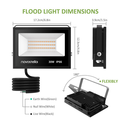 2 pack 30W Warm White LED Flood Lights
