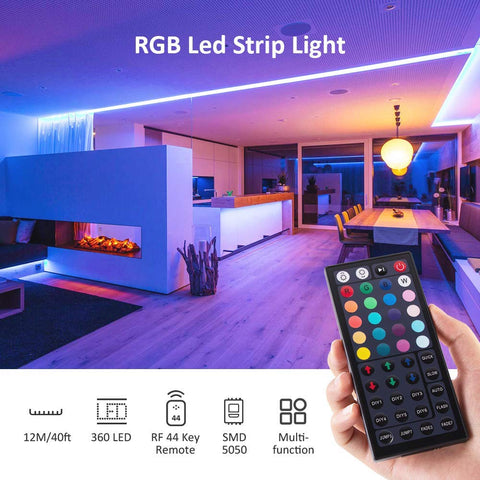 40ft RF Remote Control RGB LED Strip Lights