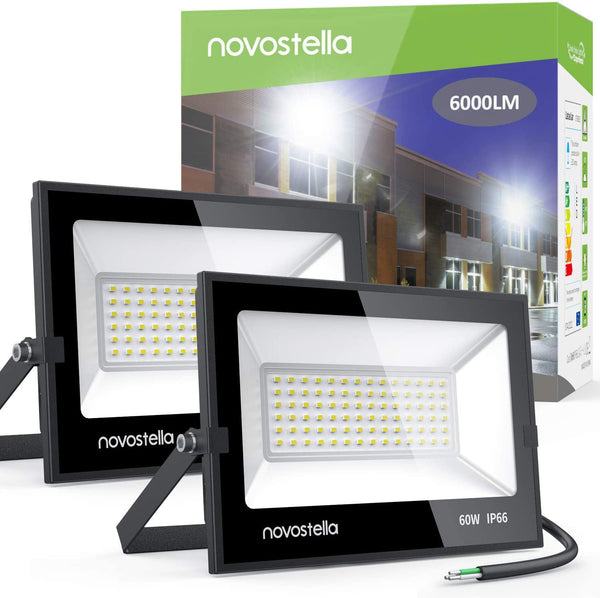 Novostella 2 pack 60W LED Flood Lights, 6000LM 5000K Daylight White Light, IP66 Waterproof Bright Hardwired Outdoor Landscape Light