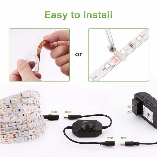 16.4ft Dimmable Warm White LED Strip Lights - Novostella