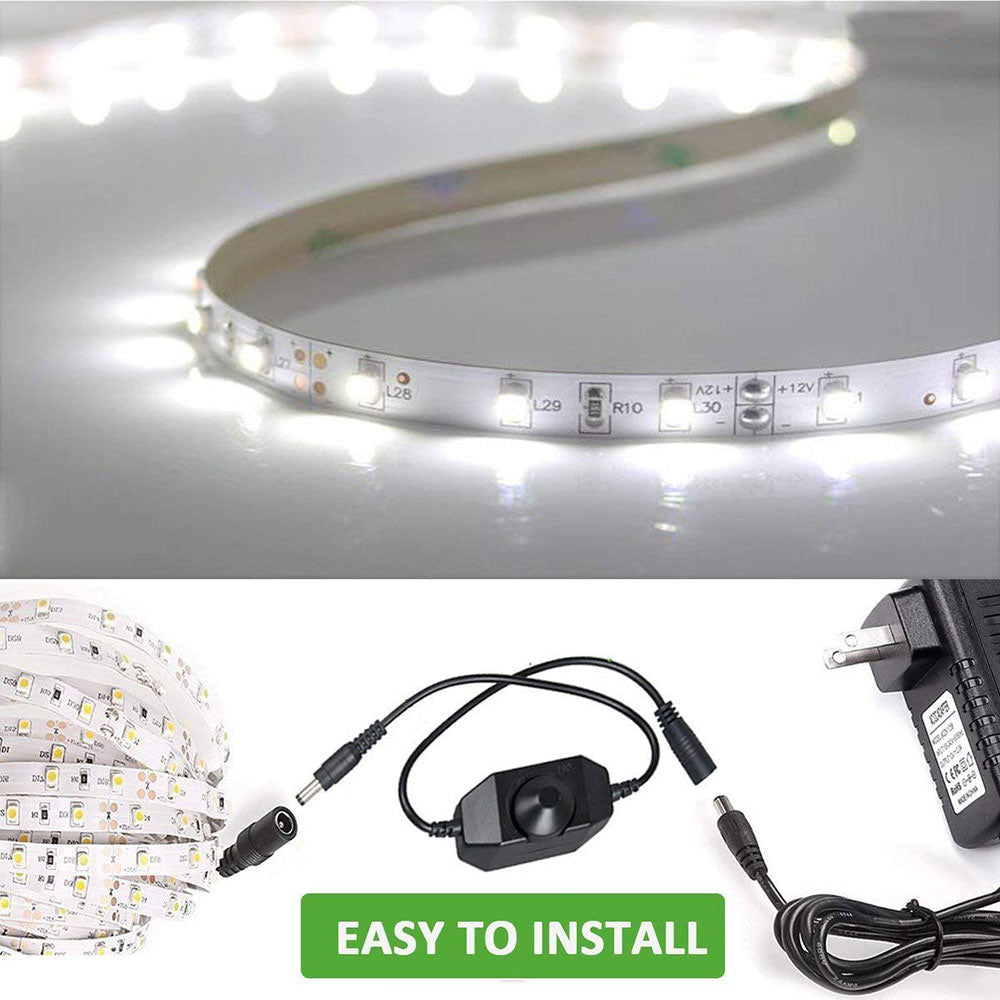 16.4ft Waterproof Dimmable Daylight White LED Strip Lights