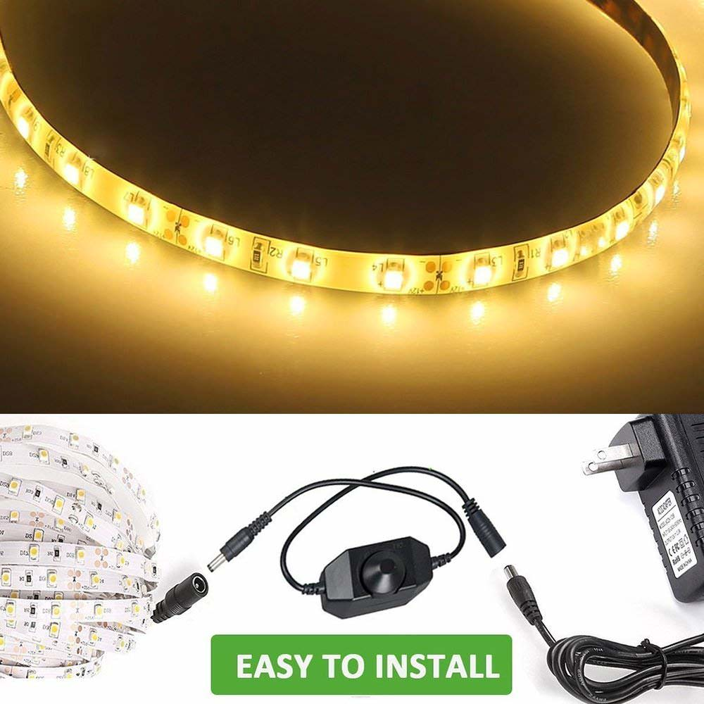 16.4ft Waterproof Dimmable Warm White LED Strip Lights