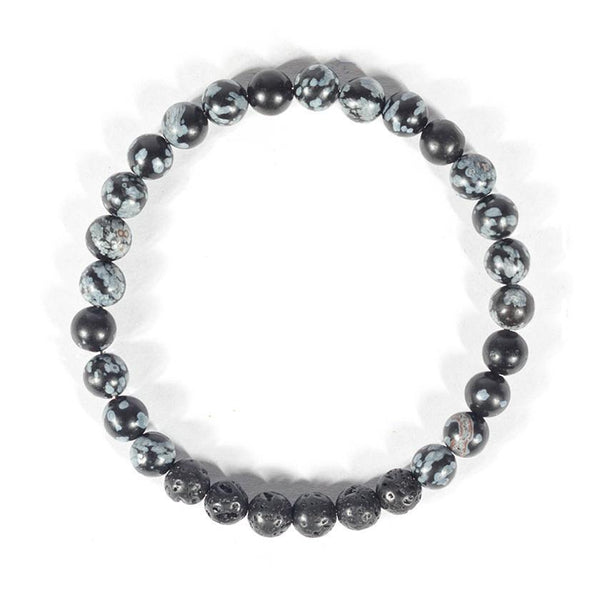 Essential Oil Diffusing Bracelet - Snowflake Obsidian