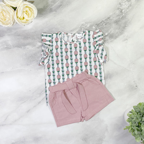 Rose Pineapple Short Set