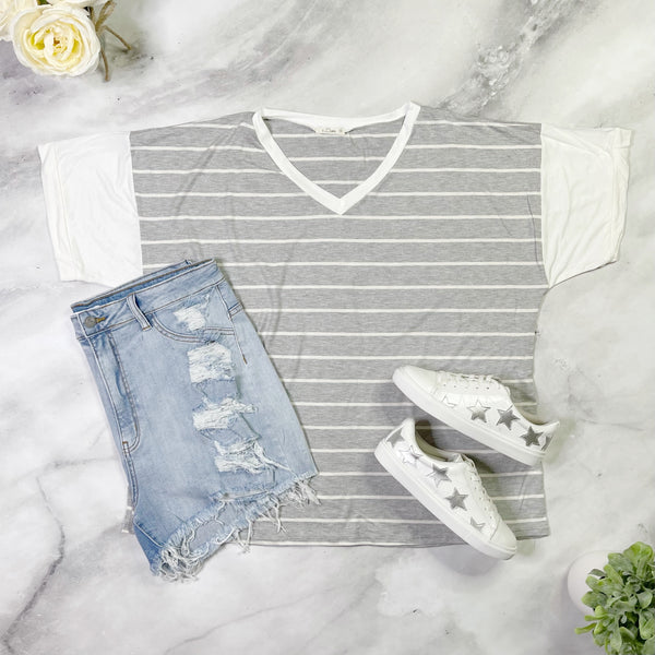 Grey Hot Stripes Top