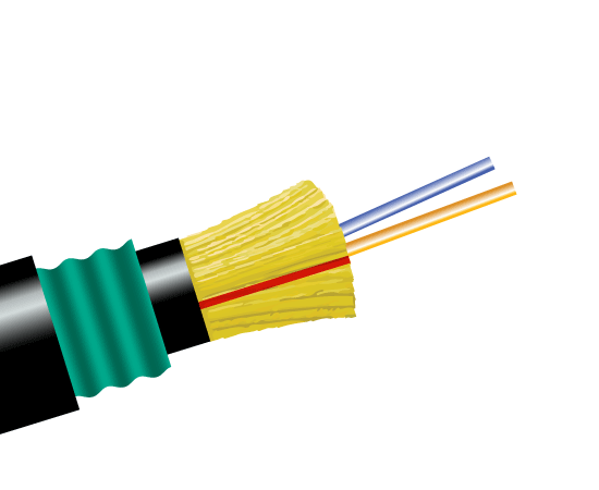 Fiber Optic Cable, 2 Strand, Single Mode, 9/125, Armored Direct Burial Distribution, Polyethylene