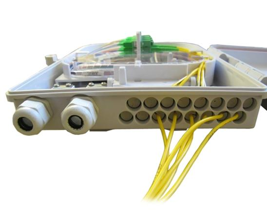 Wall Mount Plastic Fiber Distribution Unit, Up to 16 Ports, Up to 24 Splices