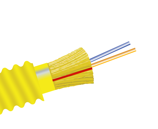 Fiber Optic Cable, 2 Strand, Single Mode, 9/125, Armored Indoor/Outdoor Distribution, Plenum