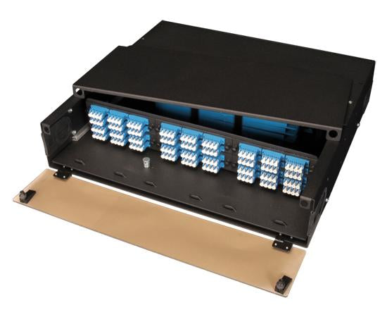 High Density Slide-Out Patch Panel, Rack Mount 2RU, 6 Adapter Panel & 4 Splice Tray Capacity