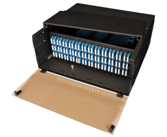 High Density Slide-Out Patch Panel, Rack Mount 4RU, 12 Adapter Panel & 8 Splice Tray Capacity