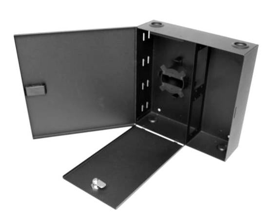 Single Outer Door Fiber Wall Mount Enclosure, 4 Splice Tray & 4 Panel Capacity, Black