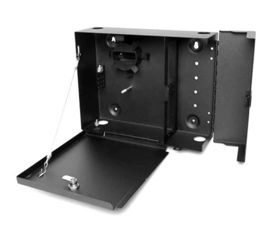Added Security Fiber Wall Mount Enclosure, 2 Splice Tray & 4 Panel Capacity, Black