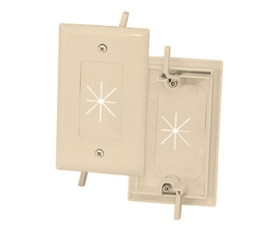 1-Gang Feed-Through Wall Plate with Flexible Opening - Ivory