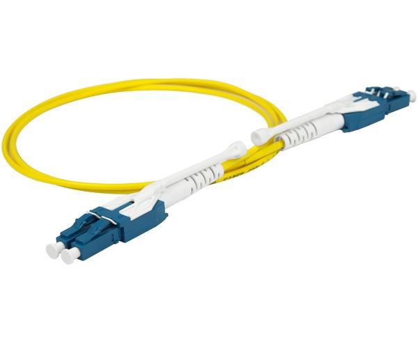 Uniboot Fiber Optic Patch Cable, Pull/Push, LC to LC, Single-Mode 9/125, Duplex