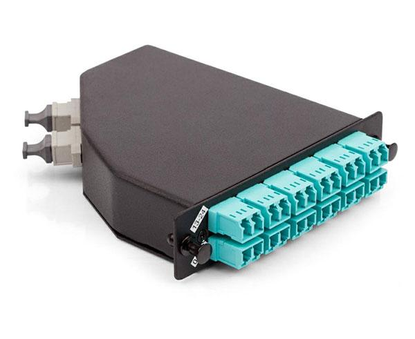 MPO/MTP-LC Cassette Module, Multimode 10G OM3 50/125, LGX Footprint, Type A, 24 LC Ports