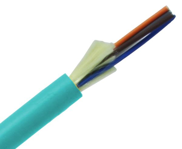 6 Strand Distribution Fiber 10GB Corning Glass Multi Mode 50/125 Plenum Indoor OFNP Tight Buffer