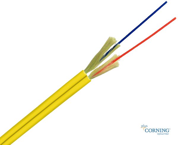 Duplex Cable Corning Fiber Single Mode 9/125 Plenum OFNP