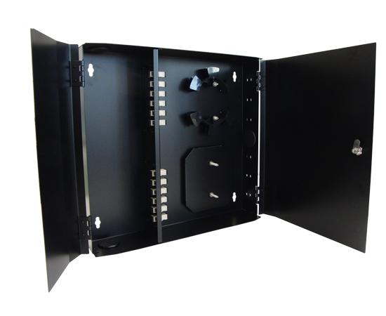 Fiber Patch Panel, 12 Port Loaded SC Simplex, Wallmount, Black