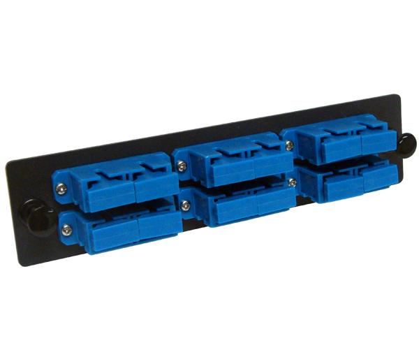 SC/UPC Fiber Optic Adapter Plate with 6 Duplex Single Mode Adapters