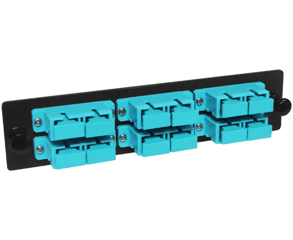 72-Strand Pre-Loaded OM3 MultiMode SC Slide-Out 2U Fiber Patch Panel with Jacketed Pigtail Bundle