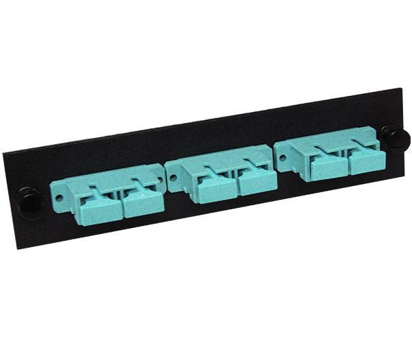 SC 10GB Fiber Optic Adapter Plate with 3 Duplex Multimode Adapters