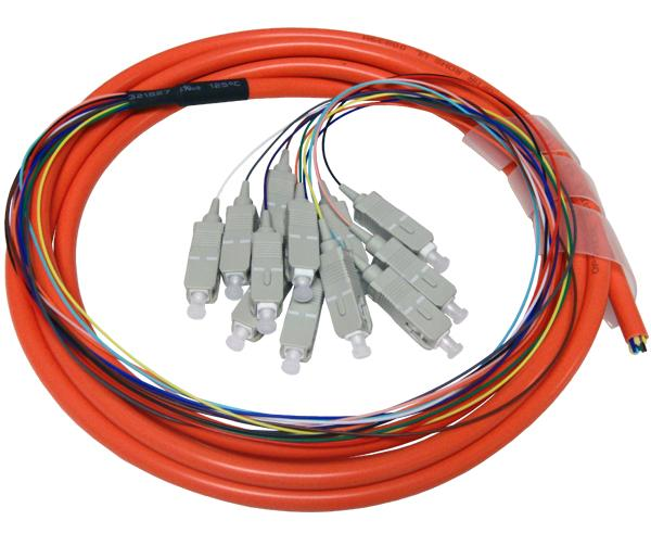 24-Strand Pre-Loaded OM1 Multimode SC Slide-Out 1U Fiber Patch Panel with Jacketed Pigtail Bundle