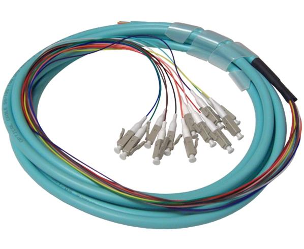 Fiber Optic Pigtails, LC, 12 Strand Jacketed, 3 Meter, OM4 Multimode