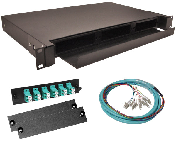 12-Strand Pre-Loaded OM3 Multimode 10G LC Slide-Out 1U Fiber Patch Panel with Jacketed Pigtails Bundle