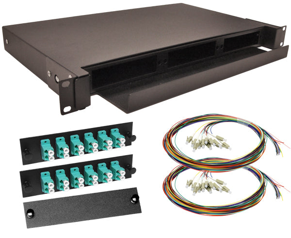 24-Strand Pre-Loaded OM3 Multimode 10G LC Slide-Out 1U Fiber Patch Panel with Unjacketed Pigtails Bundle