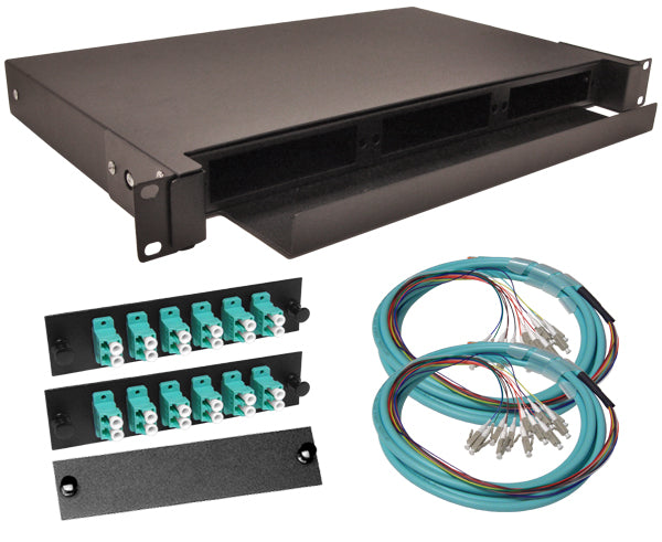 24-Strand Pre-Loaded OM3 Multimode 10G LC Slide-Out 1U Fiber Patch Panel with Jacketed Pigtails Bundle
