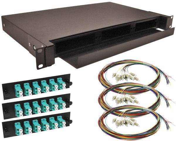 36-Strand Pre-Loaded OM3 Multimode 10G LC Slide-Out 1U Fiber Patch Panel with Unjacketed Pigtails Bundle