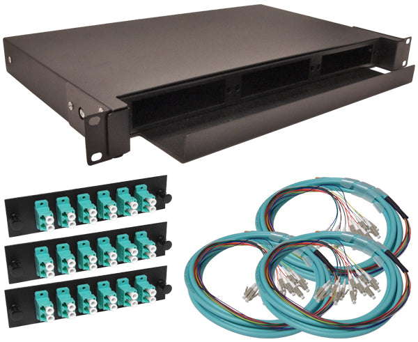 36-Strand Pre-Loaded OM3 Multimode 10G LC Slide-Out 1U Fiber Patch Panel with Jacketed Pigtails Bundle