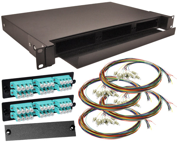 48-Strand Pre-Loaded OM3 Multimode 10G LC Slide-Out 1U Fiber Patch Panel with Unjacketed Pigtails Bundle
