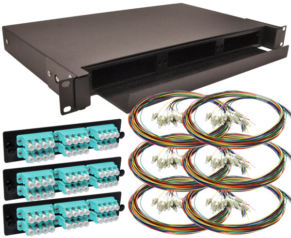 72-Strand Pre-Loaded OM3 Multimode 10G LC Slide-Out 1U Fiber Patch Panel with Unjacketed Pigtails Bundle
