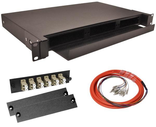 12-Strand Pre-Loaded OM1 Multimode LC Slide-Out 1U Fiber Patch Panel with Jacketed Pigtail Bundle