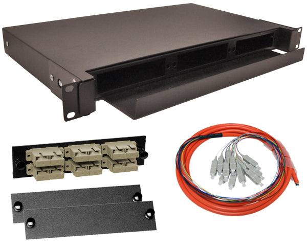 12-Strand Pre-Loaded Multimode OM1 SC Slide-Out 1U Fiber Patch Panel with Jacketed Pigtail Bundle