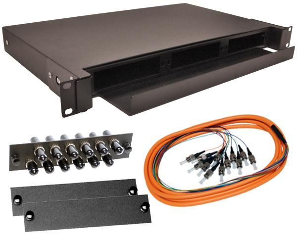 12-Strand Pre-Loaded OM1 Multimode ST Slide-Out 1U Fiber Patch Panel with Jacketed Pigtail Bundle