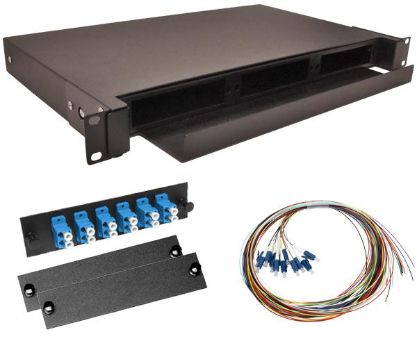 12-Strand Pre-Loaded Single Mode LC Slide-Out 1U Fiber Patch Panel with Unjacketed Pigtail Bundle