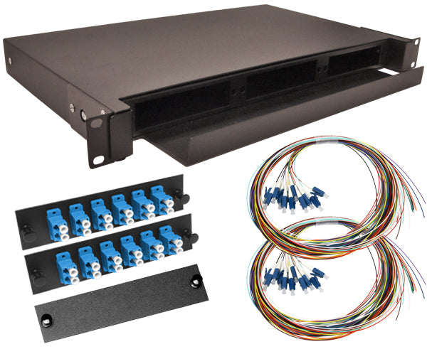 24-Strand Pre-Loaded Single Mode LC Slide-Out 1U Fiber Patch Panel with Unjacketed Pigtail Bundle